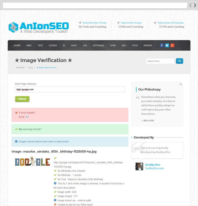 AnIonSEO Image Validator Page