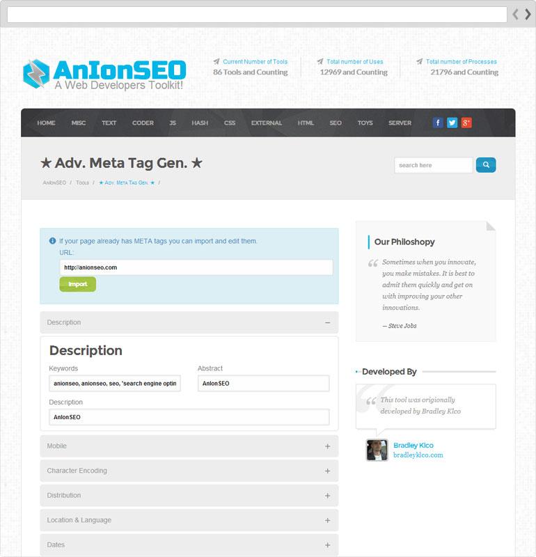 AnIonSEO Meta Tag Generator Page