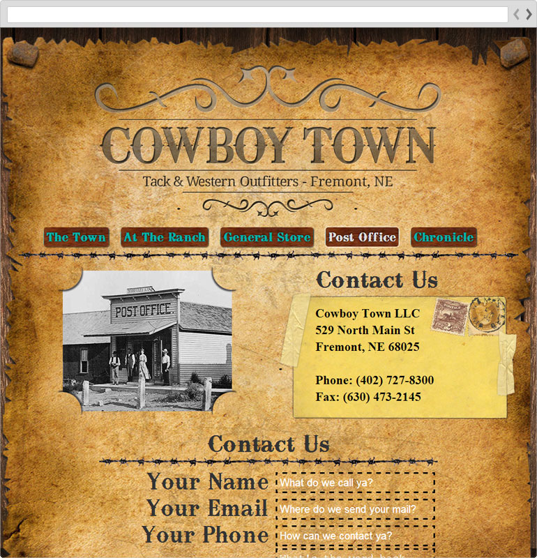 Cowboy Town Contact Us Page