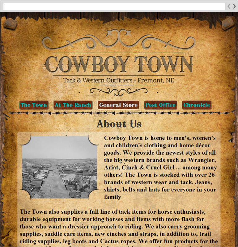 Cowboy Town About Us Page